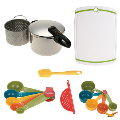 Duo 8 Qt. Stainless Steel Pressure Cooker, Board, and Measuring Sets Bundle
