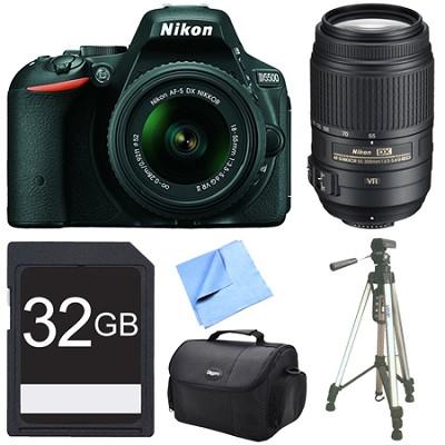 D5500 Black DSLR Camera 18-55mm Lens, 55-300 Lens, and 32GB Bundle