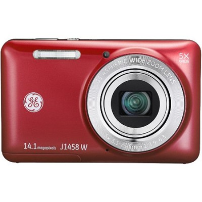 J1458W-RD 14MP 4X 2.7` LCD HD 720p Red Digital Camera with 28mm Lens