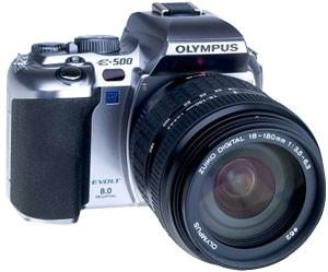 Evolt E-500 DSLR with 18-180mm Lens (Silver)
