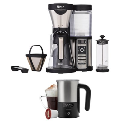 Coffee Bar Brewer with Glass Carafe and Reusable Filter w/ Aroma Milk Frother