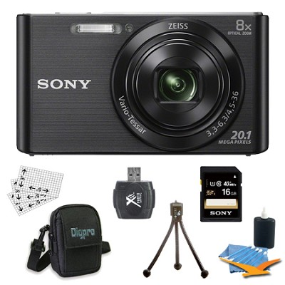 DSC-W830 Cyber-shot Black Digital Camera 16GB Bundle