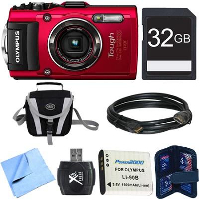 TG-4 16MP 1080p HD Waterproof Digital Camera Red 32GB Memory Card Bundle