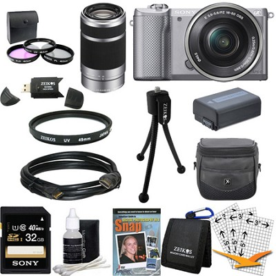 a5000 Compact Interchangeable Lens Camera Silver 16-50mm & 55-210mm Lens Bundle