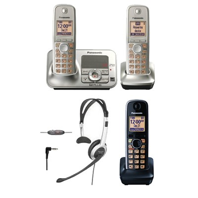 KX-TG4132N Dect 6.0 Cordless Phone System, with Headset and Additional Handset