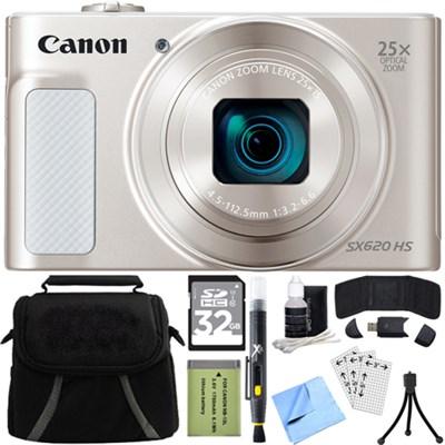PowerShot SX620 HS 20.2MP Digital Camera Silver w/ 32GB Card Accessory Bundle