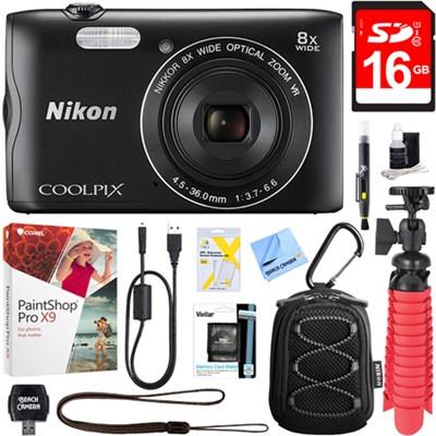 Coolpix A300 20.1MP Digital Camera  (Black) + 16GB Deluxe Accessory Bundle