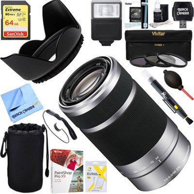 55-210mm Zoom E-Mount Lens (Silver) + 64GB Ultimate Kit
