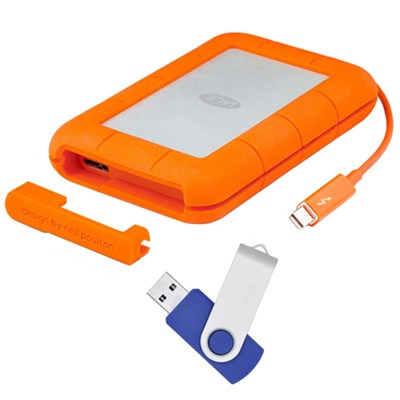 Rugged Thunderbolt USB 3.0 2TB External Hard Drive - Flash Transfer Kit