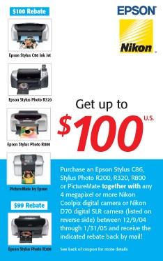 $100 Camera + Epson Printer Bundle Rebate Coupon