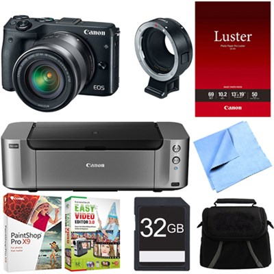 EOS M3 Mirrorless Black Digital Camera w/ 18-55mm Lens + Adapter Printer Bundle