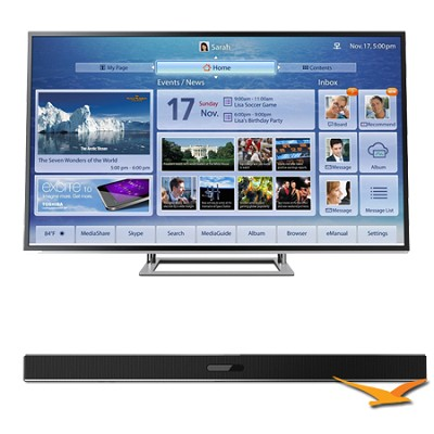 84 Inch 4K Ultra HD Ultra-Slim LED TV 3D ClearScan 240Hz Cloud TV Bundle