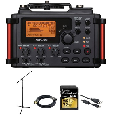 DR-60DMKII Portable Recorder for DSLR + 32 GB Card +XLR Cable +Mic.stand