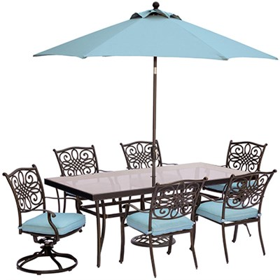 Traditions 7PC Dining:4 Chrs2 Swvl Chrs42 x84 Glass tblumb&stand Blue
