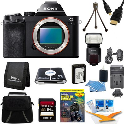 Alpha 7 a7 Mirrorless Digital Camera 64 GB SDHC Card, Battery, Flash Bundle