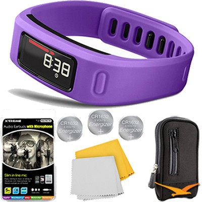 Vivofit Bluetooth Fitness Band (Purple)(010-01225-02) Plus Deluxe Bundle