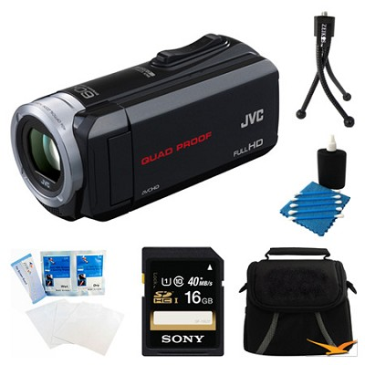 GZ-R10B Quad Proof Black 2.5 MP HD Camcorder and 16GB Card Bundle