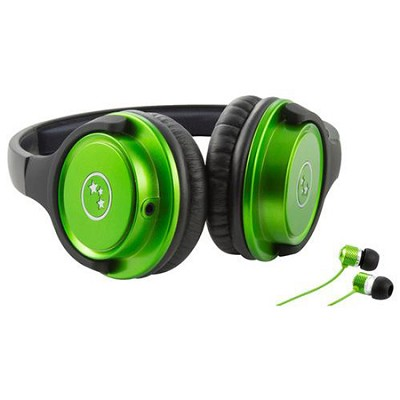 Musician's Choice Stereo Headphone Plus Sound Isolation Earbuds - Green