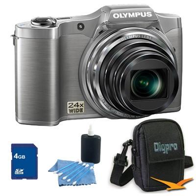 4 GB Kit SZ-12 14MP 3.0 LCD 24x Opt Zoom Digital Camera - Silver