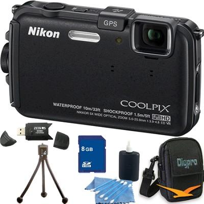 COOLPIX AW100 16MP Waterproof Shockproof Freezeproof Black Camera 8GB Bundle