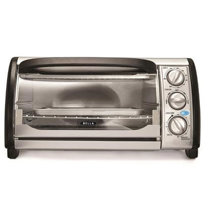 Bella 4-Slice Toaster Oven in Stainless Steel and Black - 14326 - OPEN BOX