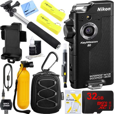 KeyMission 80 12.3MP HD WiFi Action Camera Dual Battery 32GB Accessory Bundle