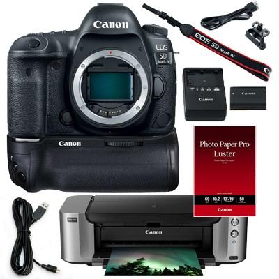 Canon EOS 5D Mark IV 30.4MP 4K Digital SLR Camera Body (Black) + Pro 100 Printer + 50-Pack Paper