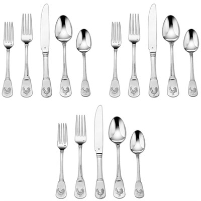 3-Pack of 20-Piece Elite Flatware Set, French Rooster CFE-01-FR20