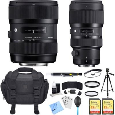 AF 18-35mm f/1.8 DC HSM + 50-100mm f/1.8 DC HSM Lens for Canon Ultimate Bundle