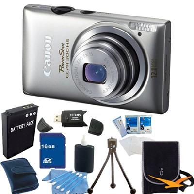 PowerShot ELPH 300 HS Silver Digital Camera 16GB Bundle