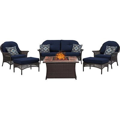 San Marino 6-Piece Fire Pit Lounge Set in Navy Blue - SMAR6PCFP-NVY-WG