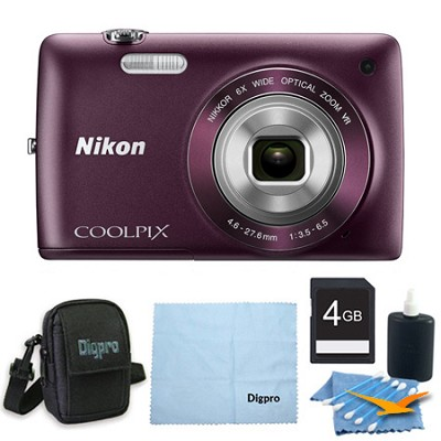 COOLPIX S4300 16MP 3-inch Touch Screen Digital Camera 4GB Purple Bundle