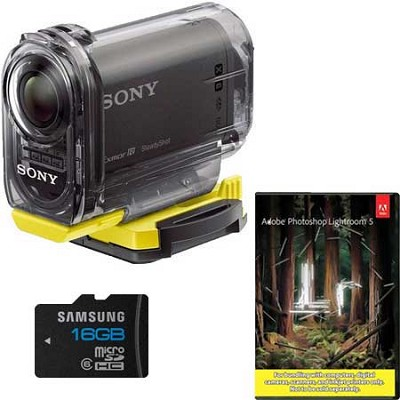 1080p Action Camcorder Kit with Waterproof Housing and Adobe Lightroom 5