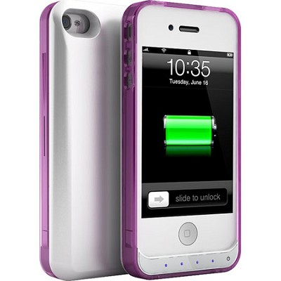 DX-Lite Protective Battery Case for iPhone 4 & iPhone 4S (White Crystal Magenta)