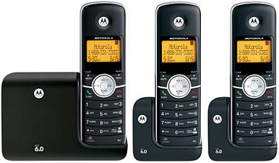 L303 DECT 6.0 Cordless Phone with 3 Handsets - Black