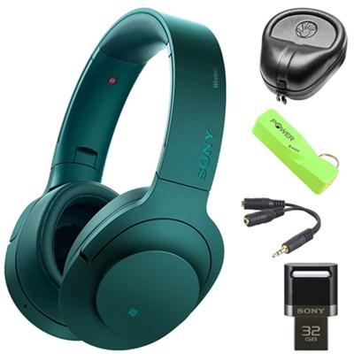 Wireless NC On-Ear Bluetooth Headphones w/ NFC Blue w/ 32 GB Flash Drive Bundle