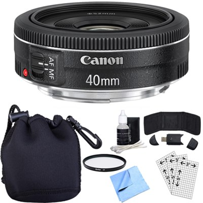 EF 40mm f/2.8 STM Pancake Lens w/ Essential Photography Accessory Bundle