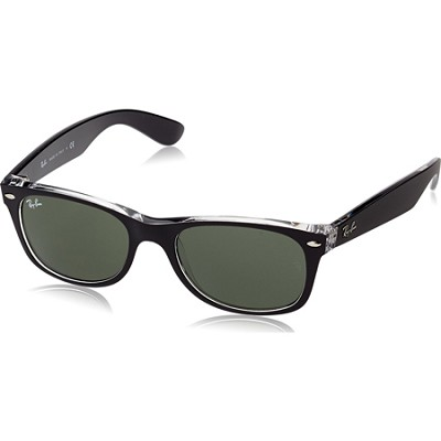 New Wayfarer Sunglasses - Black-Clear Frames/Green Lens 52mm