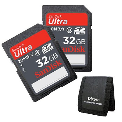2 Pack 32 GB Ultra SDHC Memory Card 20MB/s (Class 6) + Memory Card Wallet