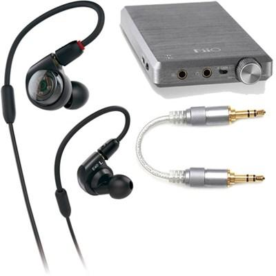 ATH-E40 Professional In-Ear Monitor Headphones + FiiO E12A Amplifier & Cable Kit