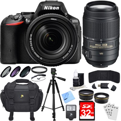 D5500 Black DSLR Camera 18-140mm Lens, 55-300mm Lens, Lens Set, and Flash Bundle