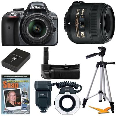 D3300 DSLR HD Grey Digital Camera Macro Photographer Bundle