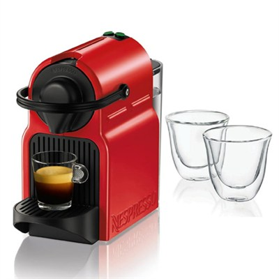 Red Inissia Espresso Maker and 2 Glasses Bundle