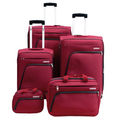 Glider 5Pc Spinner Luggage Set 28`, 24`, 20`, Boarding/Toiletry - Red - OPEN BOX