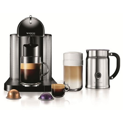 VertuoLine Coffee and Espresso Maker with Aeroccino Plus Milk Frother, Black