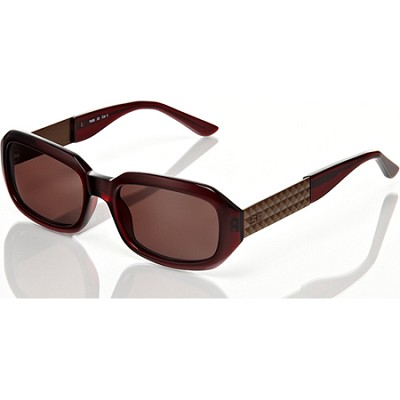 Burgundy-Brown Sunglasses With Rippeld 3D Design