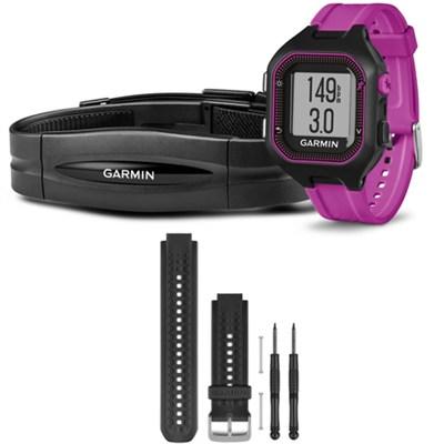 Forerunner 25 GPS Fitness Watch w/ Heart Rate Monitor Small Purple Black Bundle