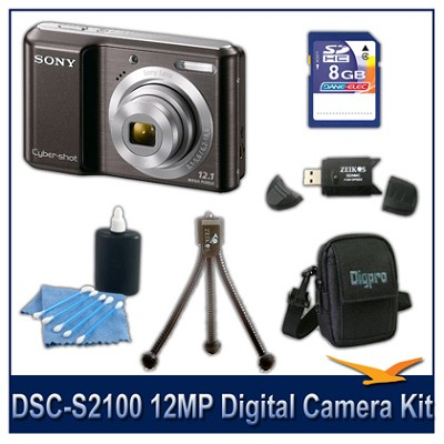 DSC-S2100 12MP Black Digital Camera with 8GB Card, Case, and More
