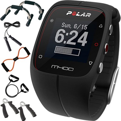 M400 Black Running & Sports Smart Watch w/ GPS + 7-in-1 Fitness Kit