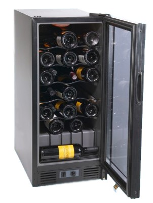 31 Bottle Capacity Built-In or Free Standing Wine Cellar (Black)